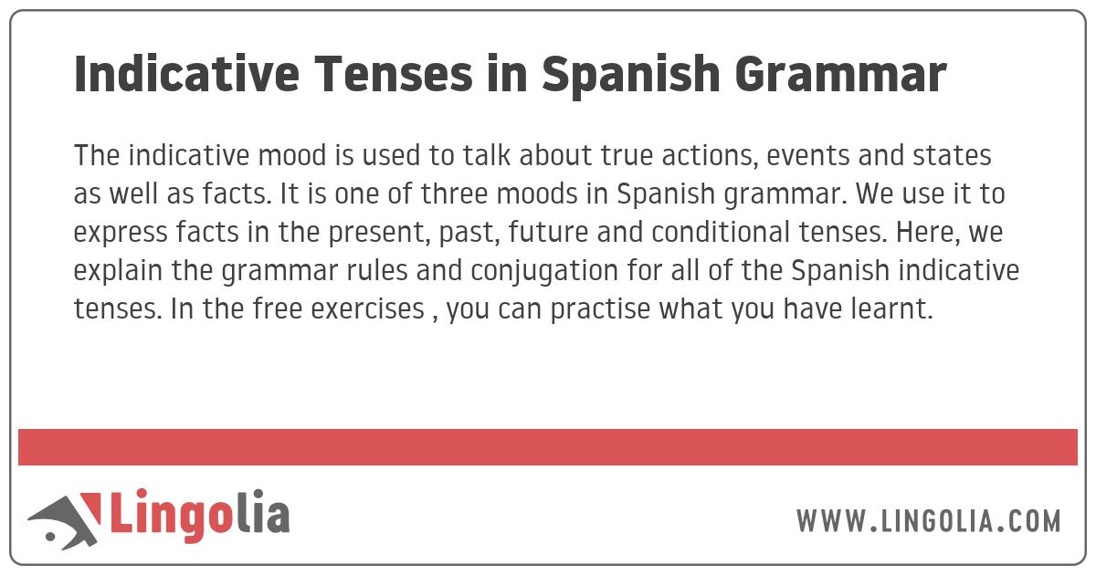 Indicative Tenses In Spanish Grammar