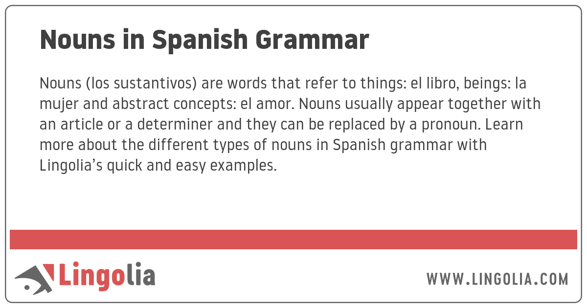 Nouns and Articles in Spanish Grammar