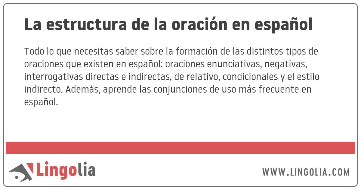 La Estructura De La Oración En Español