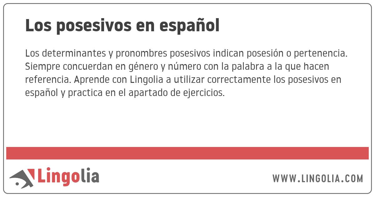 Los Posesivos En Español