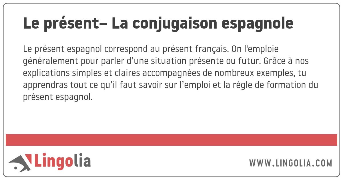 Le Present La Conjugaison Espagnole