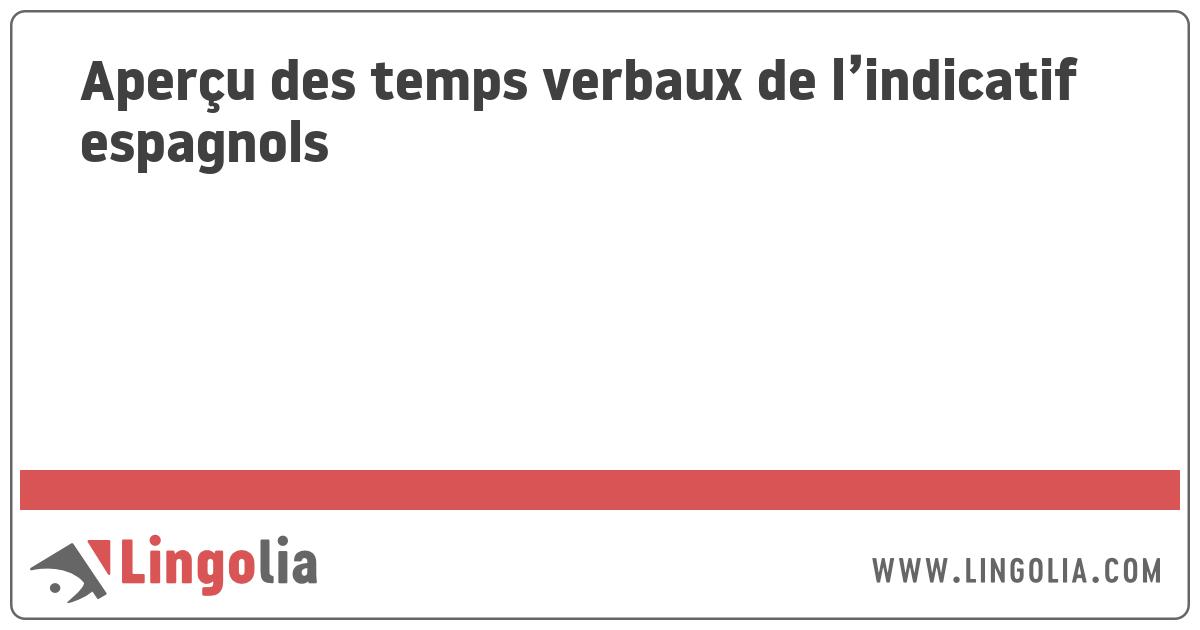Apercu Des Temps Verbaux De L Indicatif Espagnols