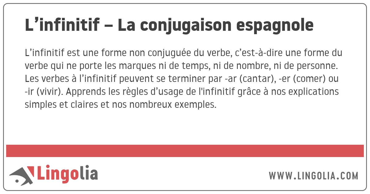 L Infinitif La Conjugaison Espagnole