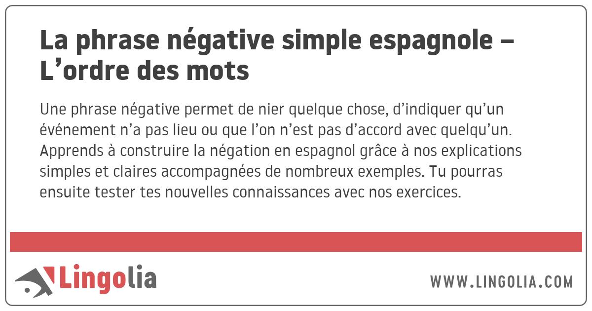 La Phrase Negative Simple Espagnole L Ordre Des Mots