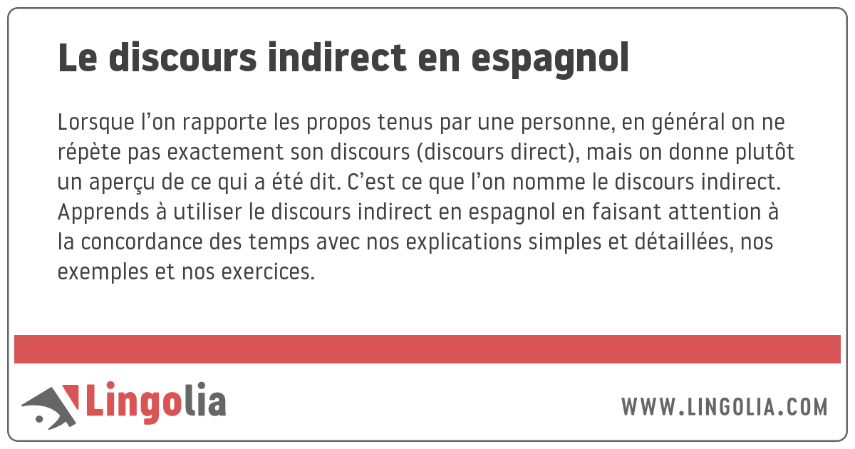 Le Discours Indirect En Espagnol