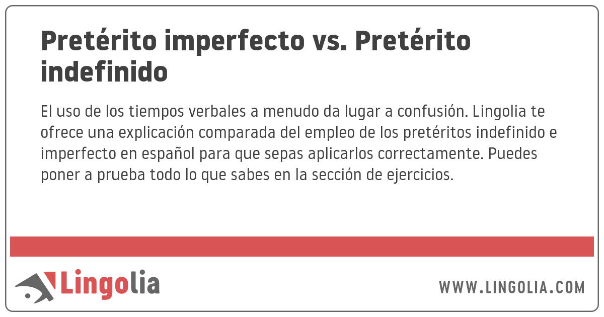 Pretérito Imperfecto Vs Pretérito Indefinido